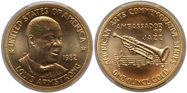 1982 Louis Armstrong American Arts Gold Medallion