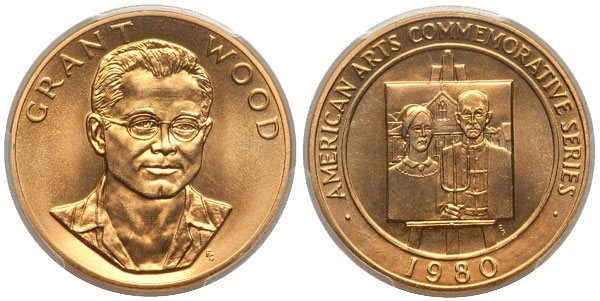 Grant Wood Americna Arts Gold Medallion