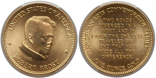 1983 Robert Frost American Arts Gold Medallion